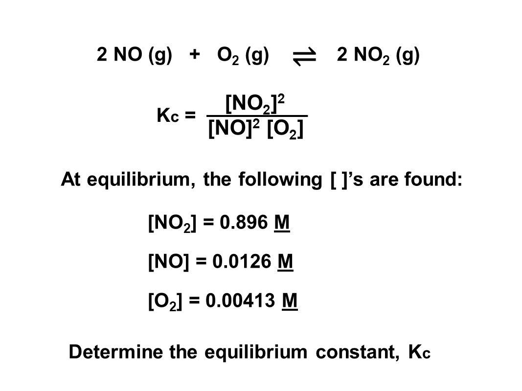 ⇌ [NO2]2 [NO]2 [O2] 2 NO (g) + O2 (g) 2 NO2 (g) Kc =